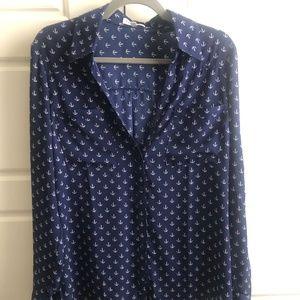 Express Portofino blouse, navy blue white anchors